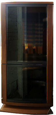 Vintage Brown Home Stereo Cabinet with Smoked Glass Doors + 3 Adjustable Shelves