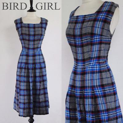 College Check 1950S Vintage Grey & Blue Flannel Swing Day Dress 12