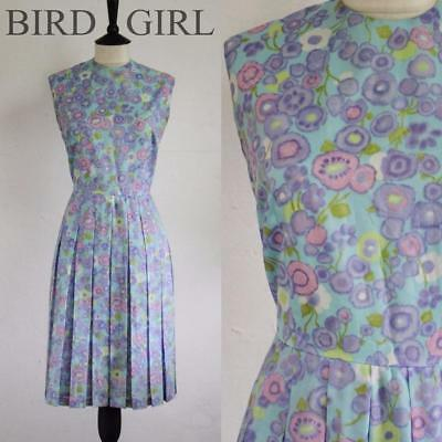 Painted Floral Print 1950S 60S Vintage Blue Pleated Swing Tea Day Dress 12 M