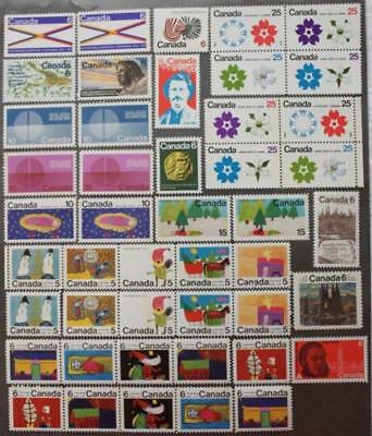 Canada 1970 Complete Year Set, MNH OG, 46 Issues, All Tagged Varieties Included