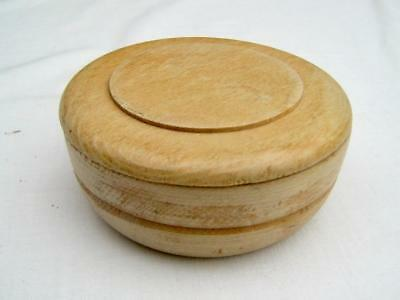 Wooden bowl with lid   Hand made   Four inches across   Shaving soap bowl   New