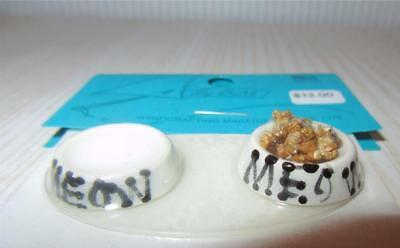 Miniature Dollhouse 1:12 Scale Cat Food (With Food) & Water Bowls On Mat - Barb3