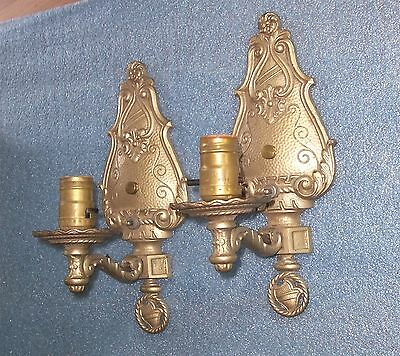 Vintage Cast Iron Wall Sconce Lights, Pair