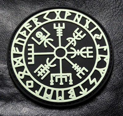 Viking Compass Vegvisir Odin Patch (Glow Dark-HOOK PVC Rubber-PVV2)