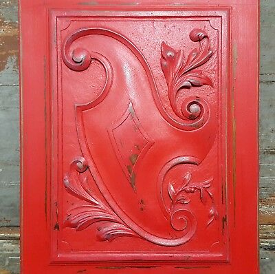 SHABBY RED CARVED WOOD PANEL ANTIQUE FRENCH COAT OF ARMS SALVAGED CARVING 19th
