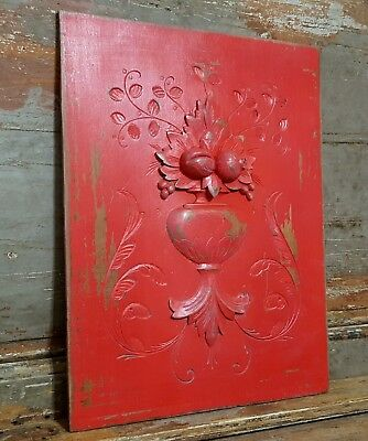 SHABBY RED CARVED WOOD PANEL ANTIQUE FRENCH FRUIT VASE SALVAGED CARVING 19th