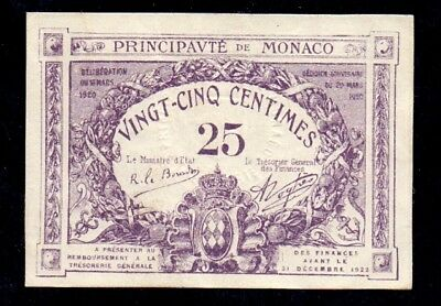25 Centimes From Monaco France 1922 XF