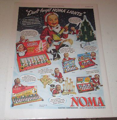 1948 original ad Noma Christmas Lights cute Boy in Santa Suit with Lights