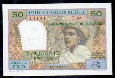 50 Francs From Madagascar Unc French Colony