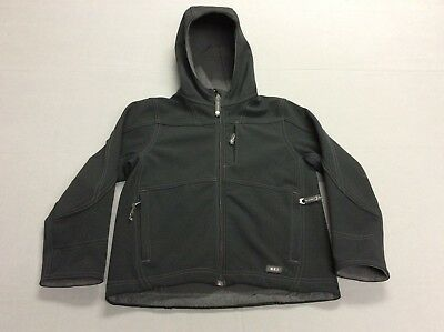 Rei Outdoors Zip Up Black Dark Gray Hooded Jacket Boys Youth Kids Toddlers 6T-7T
