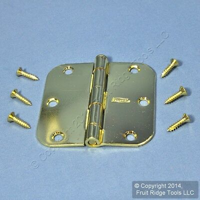 """Removable Pin Door Hinge Bright Brass Finish Steel 3-1/2"""" with Screws N266-247"""