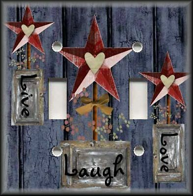 Metal Light Switch Plate Cover Country Decor Live Love Laugh Barn Star Navy Blue
