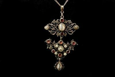 Antique Victorian Austro Hungarian Pink Garnet Perls Sterling Silver Necklace