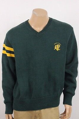 Vintage Polo Sport Ralph Lauren Green Knit V Neck Sweater Size XL