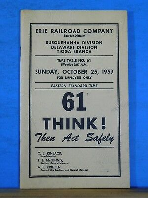 Erie Railroad Company Employee Timetable #61 Eastern District 1959 Oct 25