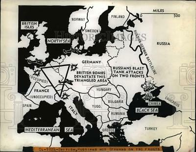 1942 Press Photo WWII Map Shows France, Italy, Germany Triangle British Bombed