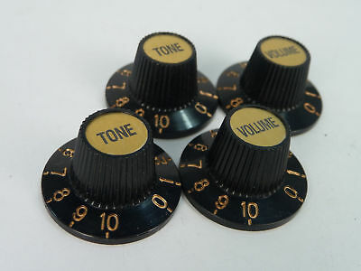 4 Vintage Witch Hat Knobs Matel Gold Top Embossed Jazz Guitar Volume Tone VGT