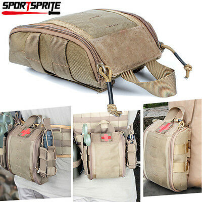 Tactical MOLLE EMT First Aid Utility Medical Pouch Bag Fit Waist Belt Vest Tan