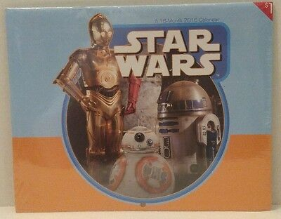STAR WARS - THE FORCE AWAKENS A 16-Month CALENDAR 2016 Disney C-3PO R2- D2 BB-8