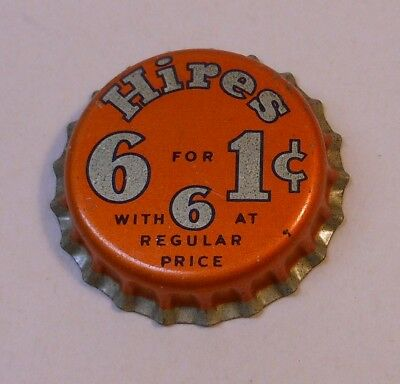Vintage Hires 6 for 1 cent..cork..unused..SODA BOTTLE CAP