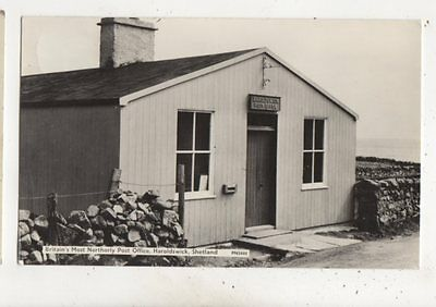 Britains Most Northerly Post Office Haroldswick Shetland 1965 RP Postcard 653b