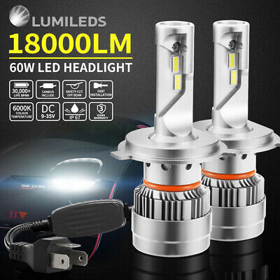 2x H4 9003 60W Philips LED Headlight KIT 18000LM HIGH LOW Beam Replace Halogen