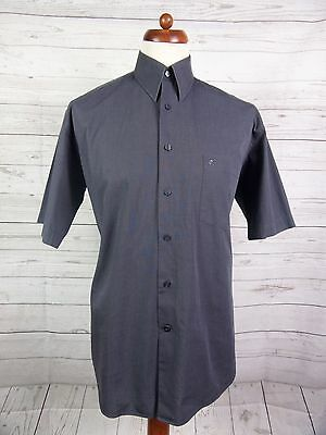 Vtg Mens S-Sleeve Charcoal Cotton Classic Shirt By Pierre Cardin -M-  DO02