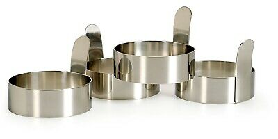 RSVP Egg/Pancake Rings Set of 4 Stainless Steel with Handles Biscuit Cutters