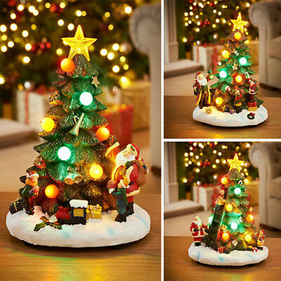 Light-Up Musical Christmas Tree LED Resin Ornament Decoration Battery Operated