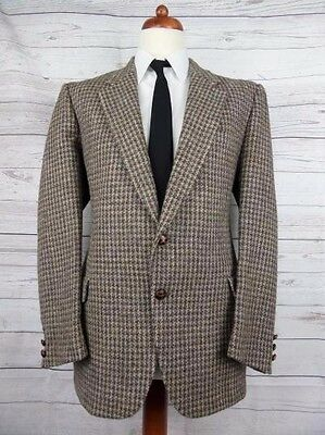 Vintage 2 Button Brown Country Check Harris Tweed -44R- CH62