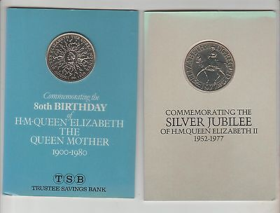1980 Queen Mothers Birthday Crown &1977 Jubilee Crown In Wallets  ,see Pictures