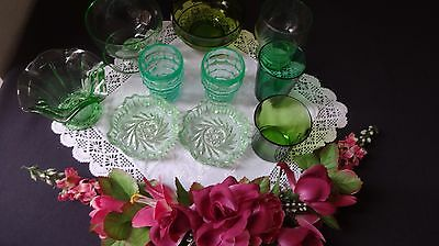 VINTAGE RETRO - 10 -  Job Lot including Green Pressed Glass & some modern pieces