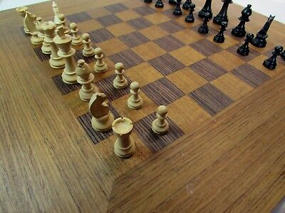 """Inlaid wooden chess board 19"""" x 19"""" with 1.5"""" squares and set of Staunton chess"""