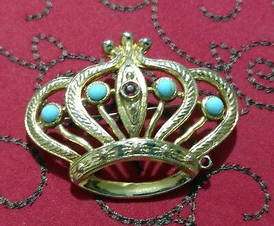 VTG Costume Brooch Scarf Hat Pin Jewelry Gold Tone Royal Crown King Queen EUC