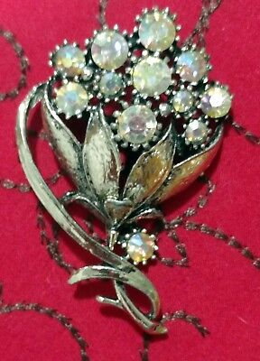 VTG Costume Brooch Scarf Hat Pin Jewelry Silver Flower Bouquet Rhinestone Ribbon