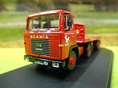 Oxford Scania 110 Red Flatbed Artic Brs 1/76 76Sc110002 Boxed & New