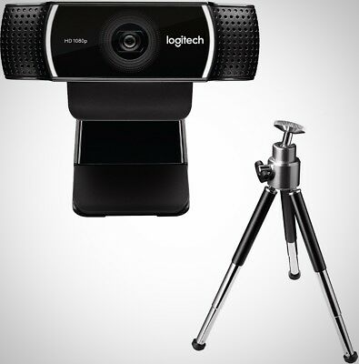 Logitech Pros Stream Full HD Webcam Mic Adjustable Tripod Black Compact New