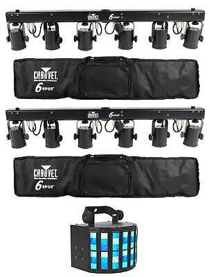 (2) Chauvet DJ 6SPOT Portable LED Color Changer System+Travel Bags+Derby Light