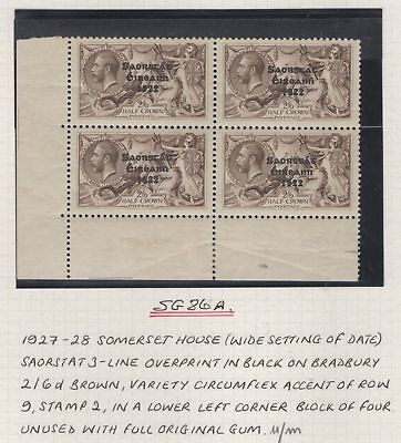 """IRELAND SG86/a 1927 2/6 ONE WITH CIRCUMFLEX OVER """"A"""" MNH IN BLOCK OF 4(MTD MARG)"""