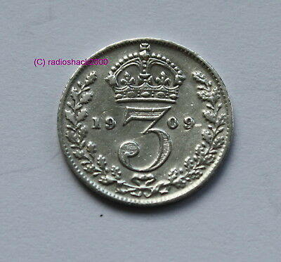 BRITISH EDWARD VII 1909 Silver 3d threepence thrupence. 92.5% (Sterling) silver