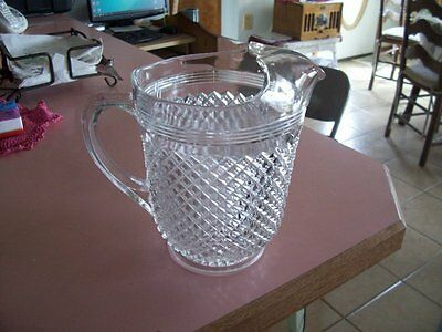 "Miss America 8 1/2"" crystal 65 oz ice lip pitcher"