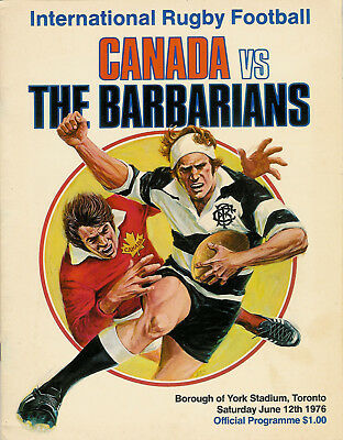 Canada v Barbarians 12 Jun 1976 Toronto RUGBY PROGRAMME