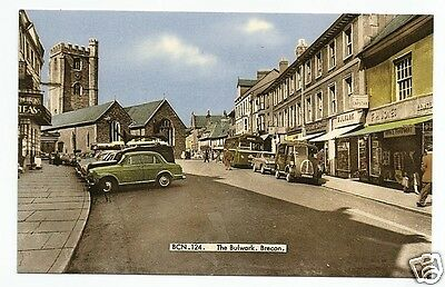 FES Early Postcard, The Bulwark, Brecon, Breconshire