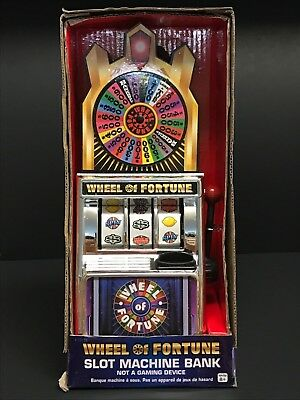 Miniature Wheel Of Fortune Slot Machine Bank Spin For Savings - NEW!