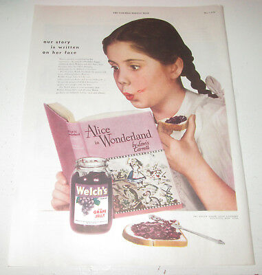 1949 original ad Welch's Grape Jelly cute girl Reading Alice in Wonderland
