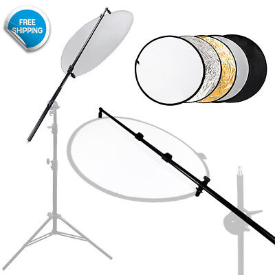 "73.5"" Photography Studio Reflector Holder Bar 43"" 5 Color Collapsible Reflectors"