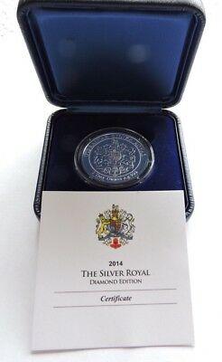 2014 Gibraltar £15 1oz Silver Royal Diamond Edition Cased With COA - Scarce