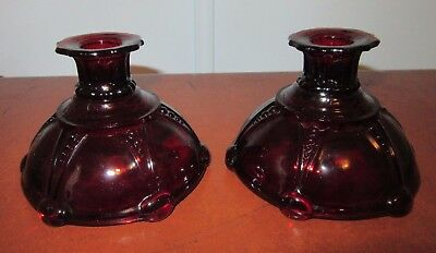 Depression Royal Ruby Anchor Hocking Oyster & Pearl Taper Candle Holders Beatifu