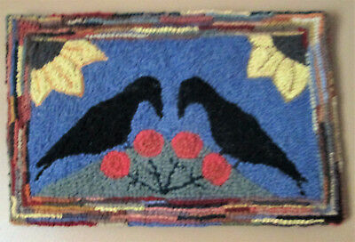 GOSSIPING CROWS Large Primitive Rug Hooking Kit with Cut Wool Strips