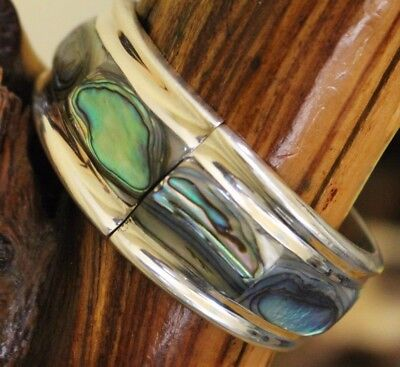 Vtg Mexico Silver Abalone Deco-Mod Bypass Clamper Bracelet 50 Grams TAXCO